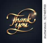 gold ribbon of thank you... | Shutterstock .eps vector #527485900