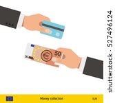 hand giving euro banknote and... | Shutterstock .eps vector #527496124