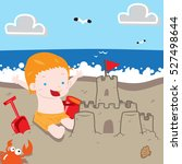 boy making sand castle in the... | Shutterstock .eps vector #527498644