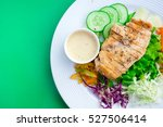 grilled chicken salad on green ... | Shutterstock . vector #527506414