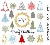 christmas set. trees ... | Shutterstock .eps vector #527521954