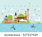 australia famous landmarks... | Shutterstock .eps vector #527527429