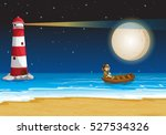 Scene With Lighthouse At Night...