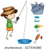 boy fishing and fishing items...   Shutterstock .eps vector #527534380