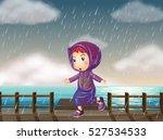 girl running in rain at the... | Shutterstock .eps vector #527534533