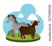 animal farm in the field | Shutterstock .eps vector #527550943