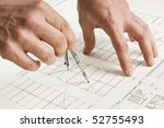 hand draws a pencil on the... | Shutterstock . vector #52755493