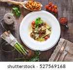 hot appetizer of chanterelle... | Shutterstock . vector #527569168