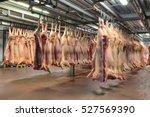 a lot of frozen pig carcasses... | Shutterstock . vector #527569390