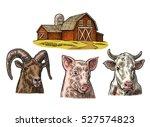 Farm Animals Set. Pig  Cow And...