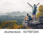 hikers with backpacks relaxing... | Shutterstock . vector #527587204