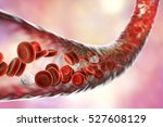 blood vessel with flowing blood ...