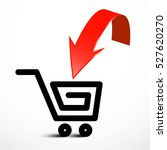 red arrow with shopping cart... | Shutterstock .eps vector #527620270