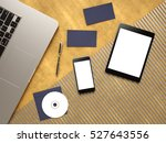 the tablet  phone and notebook... | Shutterstock . vector #527643556