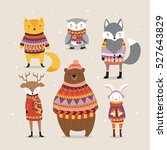 cute winter animals in boho... | Shutterstock .eps vector #527643829