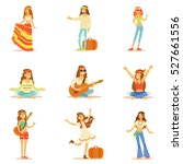 hippies dressed in classic... | Shutterstock .eps vector #527661556