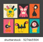 set of six retro postage s... | Shutterstock .eps vector #527665504