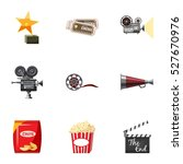 movie theater icons set.... | Shutterstock .eps vector #527670976