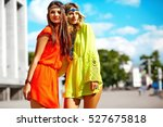fashion portrait of two young... | Shutterstock . vector #527675818