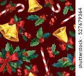 seamless watercolor christmas... | Shutterstock . vector #527679364