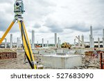 Small photo of Surveyor instrument is for measuring level on construction site. Surveyors ensure precise measurements before undertaking large construction projects.