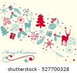 vintage christmas greeting card.... | Shutterstock .eps vector #527700328
