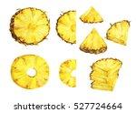 set of slice ripe pineapple.... | Shutterstock . vector #527724664