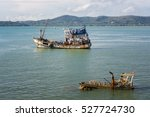 abandoned ship. fishing vessel... | Shutterstock . vector #527724730