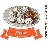 momos colorful illustration.... | Shutterstock .eps vector #527734138