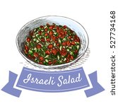 israeli salad colorful... | Shutterstock .eps vector #527734168