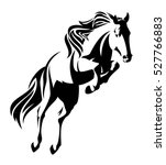 jumping horse black and white... | Shutterstock .eps vector #527766883