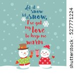 loving couple of snowmen with... | Shutterstock .eps vector #527771224