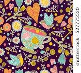 flowers  birds and tea. vector... | Shutterstock .eps vector #527775520