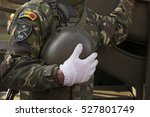soldier holding his helmet  ... | Shutterstock . vector #527801749