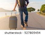 traveler man walking with... | Shutterstock . vector #527805454