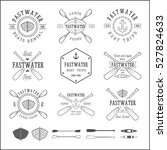 set of vintage rafting logo ... | Shutterstock . vector #527824633
