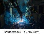 team robots welding assembly... | Shutterstock . vector #527826394