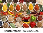 aromatic and colorful spices in ... | Shutterstock . vector #527828026