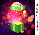open xmas box with confetti on... | Shutterstock .eps vector #527830114