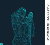 3d model of man. man who prays. ... | Shutterstock .eps vector #527831440