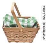 Summer Picnic Scene.  Basket with Checkered Blanket Isolated on White with a Clipping Path. - stock photo