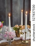 candles on the table with decor.... | Shutterstock . vector #527837530
