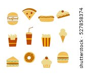 fast food icon set | Shutterstock . vector #527858374