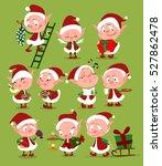 christmas set of cute cartoon... | Shutterstock .eps vector #527862478