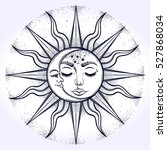 bohemian hand drawn sun and... | Shutterstock .eps vector #527868034