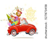 holly jolly xmas card. cute... | Shutterstock .eps vector #527873458