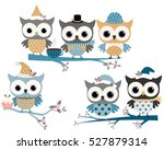 cute christmas owls in blue and ... | Shutterstock .eps vector #527879314