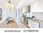 luxury kitchen with an oven and ... | Shutterstock . vector #527880940