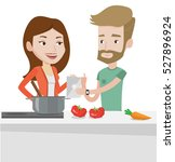 caucasian couple following... | Shutterstock .eps vector #527896924