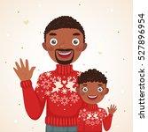 happy christmas african... | Shutterstock .eps vector #527896954